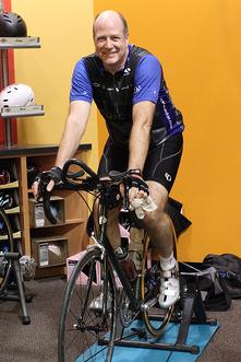 Dr. Johnson on Stationary Bike